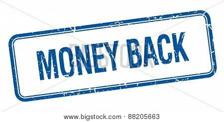 Money Back Blue Square Grungy Vintage Isolated Stamp