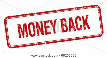 Money Back Red Square Grungy Vintage Isolated Stamp
