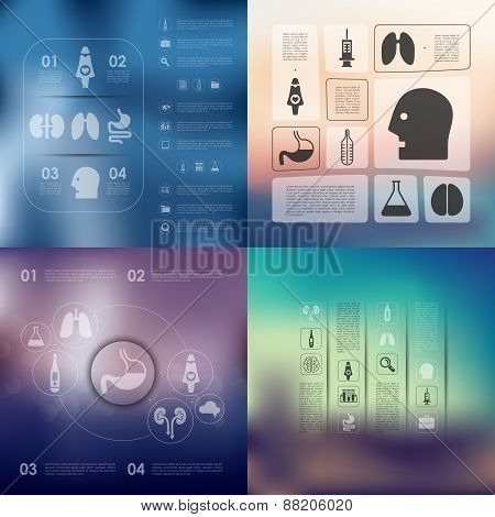 medical infographic with unfocused background