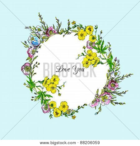 watercolor vector floral frame
