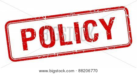 Policy Red Square Grungy Vintage Isolated Stamp