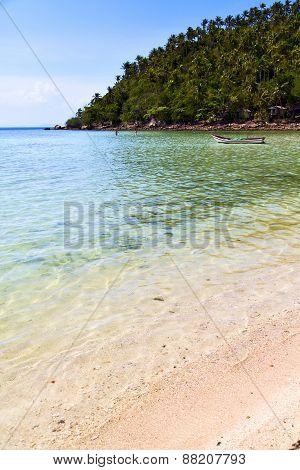Asia In   Bay The  Koh Phangan  Isle White  Beach      Boat