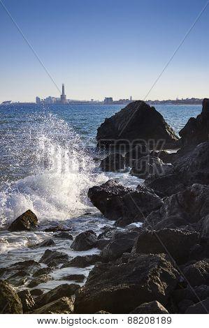 Sea Waves Crashing Against The Rocks