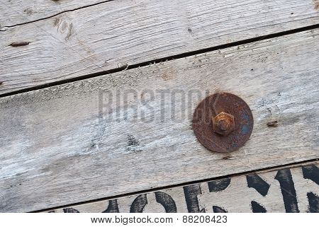 Old Wood With Rusty Old Nuts, Texture For Background.