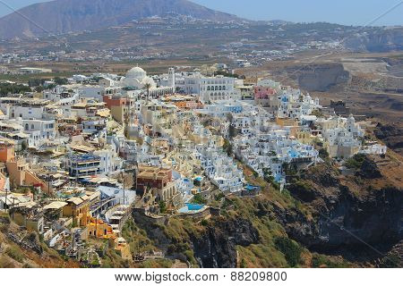 Village Of Oia In Santorini With Height