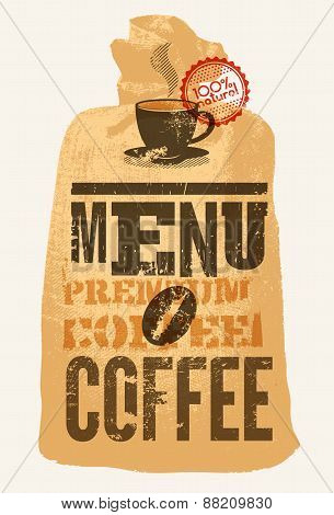 Coffee menu. Typographic retro poster for restaurant, cafe or coffeehouse. Vector illustration.