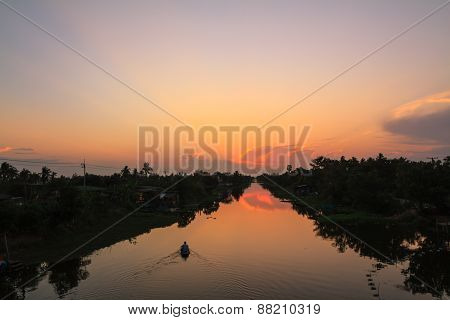 Boat in Klong Mahasawat canal in Maha Sawat district, Phutthamonthon district, Thailand