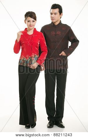 Wearing Chinese clothing waiter in front of a white background