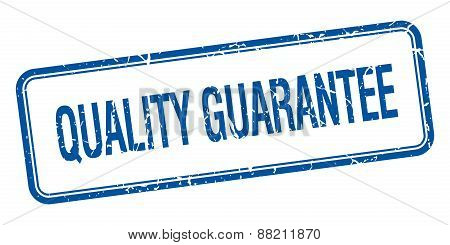Quality Guarantee Blue Square Grungy Vintage Isolated Stamp