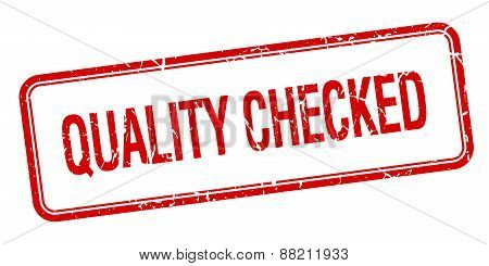 Quality Checked Red Square Grungy Vintage Isolated Stamp