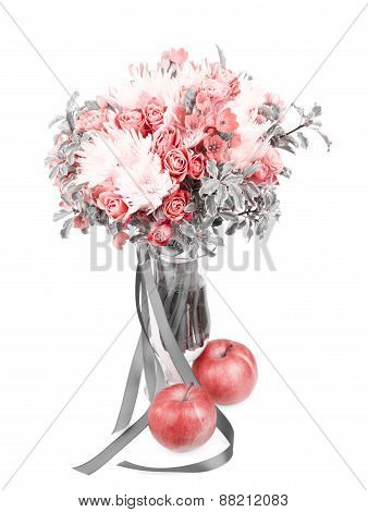 Drama Black And White Bouquet In A Vase With Red Apple Isolated On White