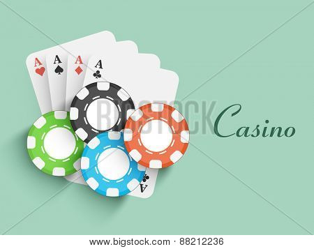 Colorful poker chips with ace playing cards for Casino.