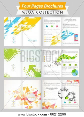 Set of two pages professional and ecological brochures or flyers presentation for your business.