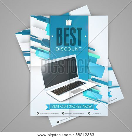 Stylish sale template, flyer or banner design with laptop concept for electronics and technology.