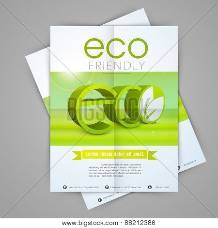One page flyer design for ecology, nature concept.