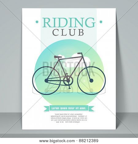 Creative stylish flyer, template or banner design for cycle riding club with cycle.