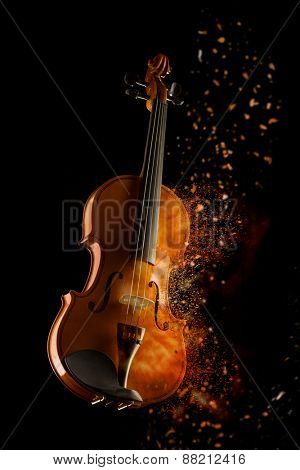 violin and bow isolated on black background