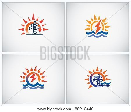 Set symbols on theme: hydro power and electricity.