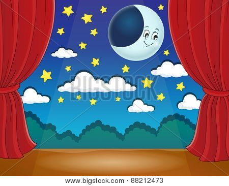 Stage with happy moon - eps10 vector illustration.