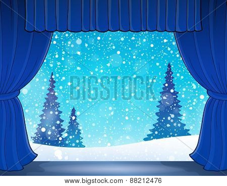 Stage with winter theme 1 - eps10 vector illustration.