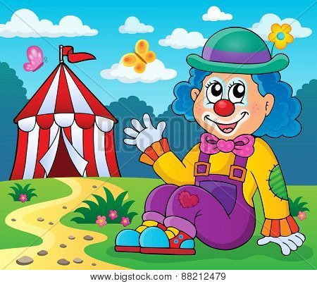 Sitting clown theme image 4 - eps10 vector illustration.
