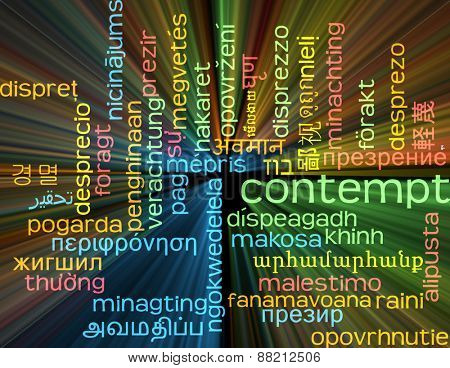Background concept wordcloud multilanguage international many language illustration of contempt glowing light
