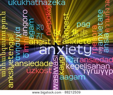 Background concept wordcloud multilanguage international many language illustration of anxiety glowing light