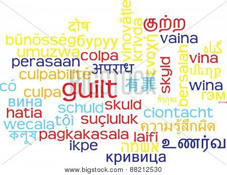 Background concept wordcloud multilanguage international many language illustration of guilt