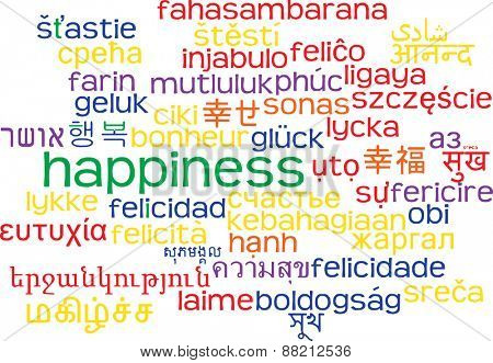 Background concept wordcloud multilanguage international many language illustration of happiness