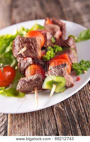 beef kebab, barbecue