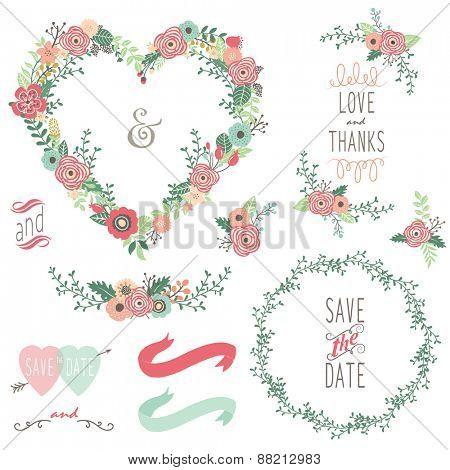Vintage Heart Shape Wreath Elements