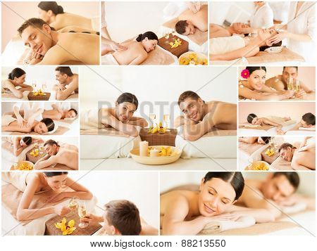 health and beauty, resort and relaxation concept - collage of many pictures with happy family couple in spa salon getting massage