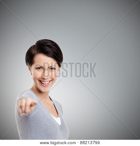 Imperious hand gesture, isolated on grey
