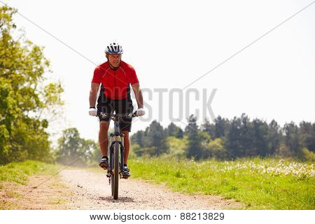 Man Riding Mountain Bike Along Path In Countryside