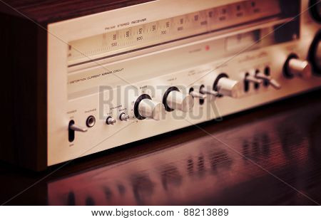 Vintage Stereo Radio Receiver Perspective View