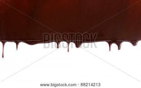 Chocolate stream isolated on white