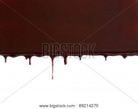 Chocolate stream isolated on white