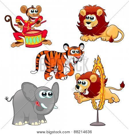 Funny circus animals. Cartoon vector isolated characters.