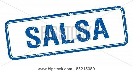 Salsa Blue Square Grungy Vintage Isolated Stamp