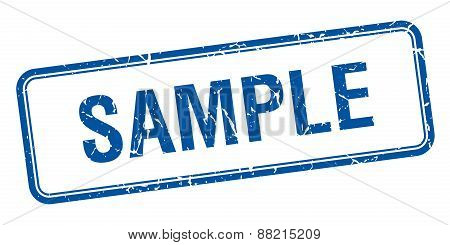 Sample Blue Square Grungy Vintage Isolated Stamp