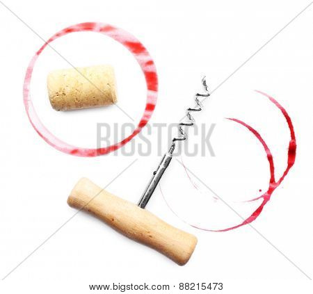 Wine stains cork and corkscrew isolated on white