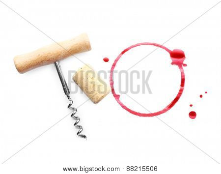Wine stain, cork and corkscrew isolated on white