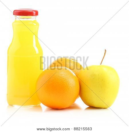 Glass bottle of fresh healthy juice with apple and orange isolated on white