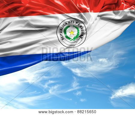 Paraguayan waving flag on a beautiful day