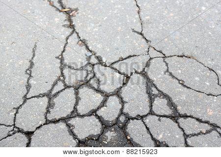 Cracked asphalt close up