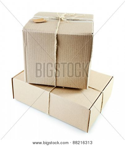 Mail package parcels isolated on white