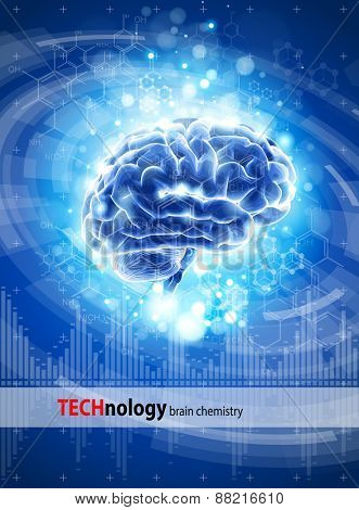 brain, chemical formulas & lights - blue technology concept / vector illustration / eps10