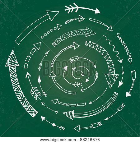Hand drawn arrow icons set on green chalk board. Vector Illustration