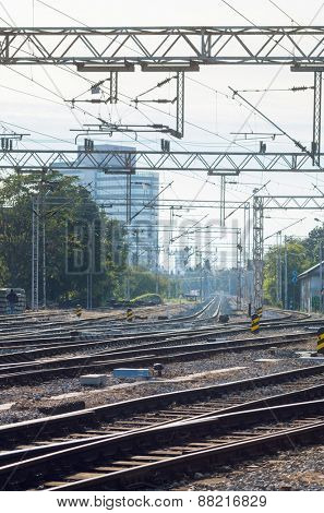 Railway tracks on a bright day