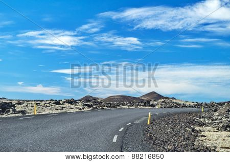Icelandic road on a sunny day
